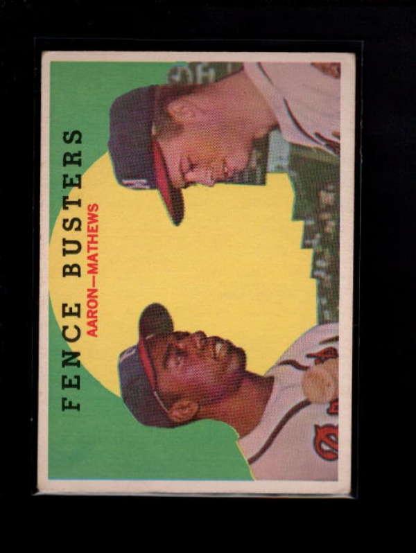1959  TOPPS #212 HANK AARON/EDDIE MATHEWS FENCE BUSTERS EX B4268